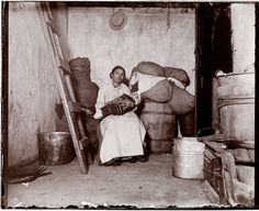 This Jacob Riis photo was taken around 1890 in the home of an Italian ragpicker on Jersey Street in New York.