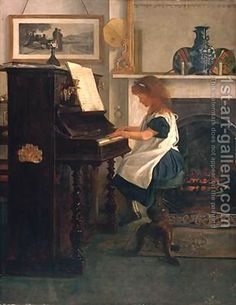 At the Piano. Henry Stacy Marks (British, Oil on canvas.Marks was a founding member of the St John's Wood Clique in 1862 along with Calderon. The aim of the clique was to improve each other by critique and. Music Pics, Music Pictures, Piano Girl, Piano Lessons For Beginners, S Videos, Music Collage, Playing Piano, Emotion, Art Uk