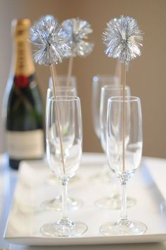 champagne glasses + festive sparkle sticks