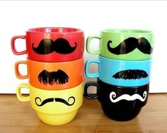 Mustache Mugs - I'm not caught up in the mustache craze but I have to admit these are adorable for anyone who is. Make one and pair it with some coffee and a chocolate covered spoon or some hot cocoa and a peppermint stick. Or give the set so they can share the fun with friends.