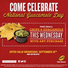 Pinned September 16th: Guacamole & chips free today with any order at #Taco Bueno #coupon via The #Coupons App Guacamole Chips, Restaurant Marketing, Coupons, Tacos, September, App, Free, Apps, Coupon