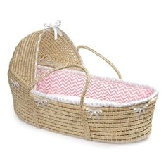 Pretty Moses Basket creates a space for baby anywhere in the house. When Baby outgrows the Moses Basket, use it as a place for storing stuffed animals, linens or as a bed for dolls or pets. Includes a foam mattress pad and a white sheet. Pink Chevron Bedding, Gray Chevron, White Bedding, Storing Stuffed Animals, Moses Basket Bedding, Blue Waffle, Baby Moses, Baby Nursery Furniture, Owl Nursery
