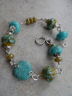 Phoenix ... SRA Lampwork Turquoise and Sterling by juliethelen, $89.00
