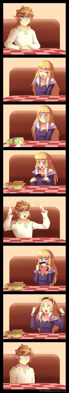 Skyward Sword: The perfect gift by Zellie669.deviantart.com on @deviantART XD This person is so random.