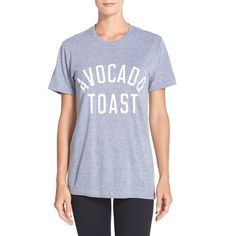Private Party 'Avocado Toast' Jersey Tee ($52) ❤ liked on Polyvore featuring tops, t-shirts, grey, crew neck t shirt, grey tee, party tops, going out tops and jersey tee