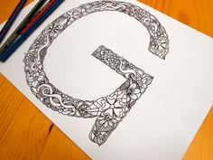 Alphabet Coloring Pages S : Letter b floral letters adult coloring page children s coloring