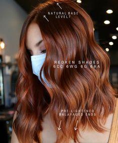 Hair Color Formulas, Redken Color Formulas, Redken Hair Color, Redken Hair Products, Shades Of Red Hair, Gorgeous Hair Color, Red Hair Don't Care, Hair Color Techniques, Work Hairstyles