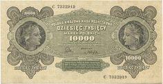 10000 Marek Polskich 1922 (Mädchenportraits), selten in diesem Erhaltungsgrad