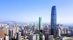 深センのランドマークのひとつ、京基100 ( Kingkey 100 )。現在深センでは最も高い超高層ビル。中にはホテル、ショッピングモール、美術館などが入っている(2017年5月31日撮影)。(c)CNS/陳文 ▼8Jun2017AFP|空から見た深セン http://www.afpbb.com/articles/-/3130472 #深圳 #Shenzhen
