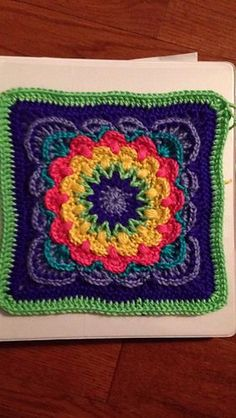 "Fan Dance 12"" Afghan Block ~ free pattern ᛡ"