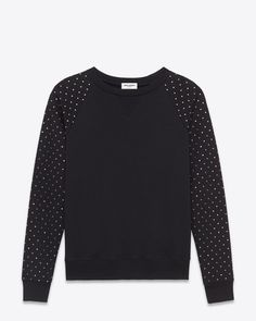 CLASSIC SAINT LAURENT CREWNECK SWEATSHIRT WITH faceted crystals studs along each sleeve.
