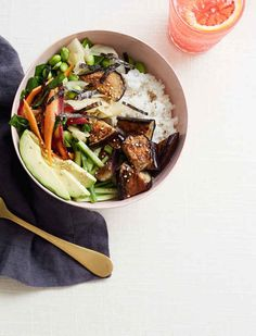 this sushi bowl has miso glazed eggplant and we love it, via @goop