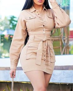 Solid Buttoned Pocket Design Cargo Dress in 2019 Stylish Outfits, Cute Outfits, Dress Outfits, Fashion Outfits, Dress Fashion, Style Fashion, Casual Dresses For Teens, Dress Casual, Bodycon