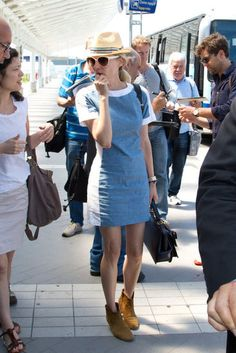 Fabs Top 10 Celebrity Looks of the Week — Alexa, Diane, Charlize, and More!: Diane Kruger was the picture of Summer style in a fitted denim dress, a fedora, and her go-to Isabel Marant ankle boots.