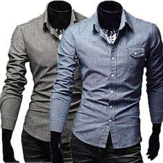 Wholesale Men's Fashion Casual Simplicity Wild Long-sleeved Denim Shirt