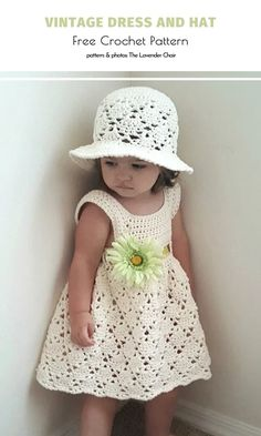 Vintage Little Lady Clothes Free Crochet Patterns What a beauty! She looks like a little princess, doesn't she? Your lovely baby girl can look just as adorable in this vintage set. This dress is absolutely fabulous and it comes with a matching sun hat! Crochet Baby Dress Free Pattern, Crochet Toddler Dress, Knit Baby Dress, Baby Girl Crochet, Crochet Baby Clothes, Baby Knitting Patterns, Crochet Baby Dresses, Crochet Princess Hat, Baby Bonnet Pattern
