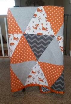 Orange and Grey Fox Quilt Baby Toddler Fox by TheSlumberingForest