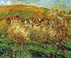 Reproduction de Monet, Les pommiers en fleur. Tableau peint à la main dans nos ateliers. Peinture à l'huile sur toile.