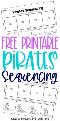 Encourage your little kids to be creative thinkers and problem solvers with these Free Printable Sequencing Activities for Preschoolers. Use them with your next island preschool theme or even have a pirate adventure! Either way, you're definitely going to want to download yours today! #sequencing #pirates #preschool #kindergarten Preschool Printables, Preschool Kindergarten, Preschool Worksheets, Printable Worksheets, Free Printable, Story Sequencing Worksheets, Sequencing Activities, Sensory Activities Toddlers, Kids Learning Activities