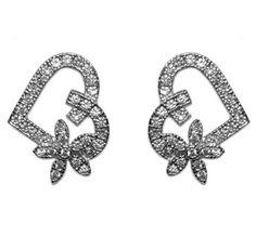 Luba Flower Heart Stud Earrings | Cubic Zirconia | Silver | Gold