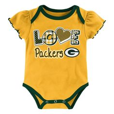 Child Bodysuits NFL Green Bay Packers Team Color 18 M, Girl's, Multicolored White