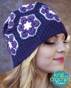 Free African Flower Slouch pattern download Design by Robyn Chachula Featured in Season 6, episode 2, of Knit and Crochet Now! TV.