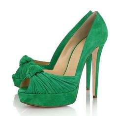 Shoespie Chic Greenery Knot Front Peep Toe Platform Heels