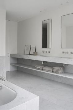 all of it. floating marble vanity with wall hung faucets.