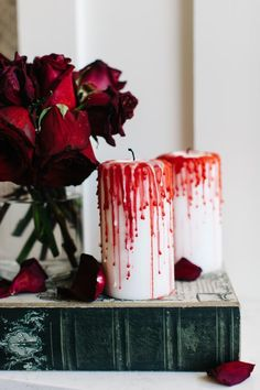 How to Make Bloody Dripping Candles http://www.diynetwork.com/how-to/make-and-decorate/entertaining/halloween-decorations-bloody-candles >>