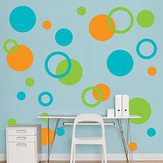 Fathead Murals/Wall Graphics: Orange, Green & Turquoise Polka Dots