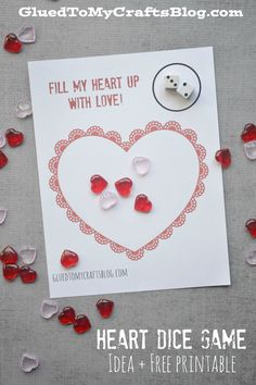 heart dice game free printable - Free Valentine Games