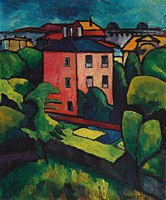 Alexander Kanoldt: Landschaft mit Dorf. 1910