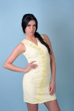 Pale yellow dress with soutache ornaments by AlexandraKaczur on Etsy