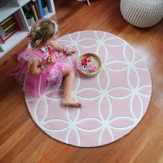 Lovely light pink rug for girls. Simply sweet in a nursery, bedside or in a playroom.