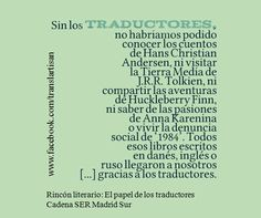 Rincón literario: el papel de los #traductores | vía @La_SER | http://www.sermadridsur.com/noticias/rincon-literario-el-papel-de-los-traductores_48383/ …