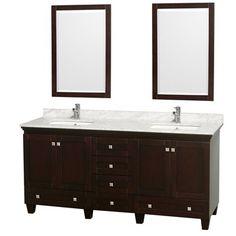 Virtu Brentford 90 Inch Espresso Double Sink Bathroom Vanity Set