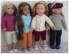 "Basic turtleneck & leggins to fit 18"" American Girl doll (46cm) knitting pattern by Angela Fox - free!"