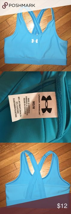Under Armour Sports Bra Light blue Under Armour Compression Sports Bra. Only worn a few times, in great condition. Runs true to size but is supposed to fit tight since it is compression. Under Armour Intimates & Sleepwear Bras