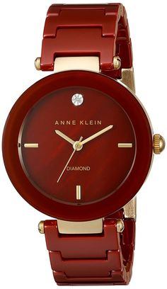 Anne Klein Womens DiamondAccented Dial Burgundy Ceramic Bracelet Watch >>> Find out more about the great product at the image link. Trendy Watches, Cute Watches, Elegant Watches, Beautiful Watches, Watches For Men, Anne Klein Watch, Luxury Watches, Fashion Watches, Bracelet Watch