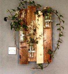 Wall jars, pallet wood, reclaimed pallet wood