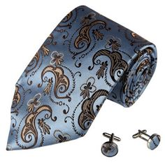 Amazon.com: Designer Blue Paisleys Necktie Cufflinks Set with Gift Box Ties for Him Jacquard Brown Pattern Flora Silk Mens Tie and Cuff Link...