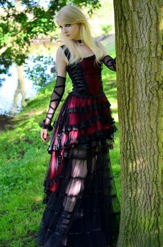 Romantic Goth Stock by *MariaAmanda rec black goth lace sheer dress corset dark blonde