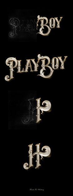 The Work of Havi Cruz - Playboy Process Calligraphy Types, Calligraphy Letters, Typography Letters, Tattoo Lettering Fonts, Graffiti Lettering, Cool Typography, Typography Design, Typography Inspiration, Design Inspiration