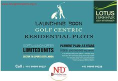 Lotus greens plots in sector 79 Noida is its openness from all sides and it has a lush green, picturesque and spacious golf course. http://www.lotusgreensplots.org.in/