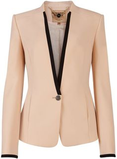 Ted Baker Teamo Contrast Trim Crepe Blazer in Beige (nude) - Lyst Trajes Business Casual, Business Attire, Blazer And Shorts, Blazer Jacket, Pink Jacket, Tailored Jacket, Mode Outfits, Office Outfits, Mode Jeans