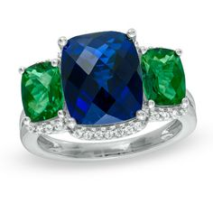 Cushion-Cut Lab-Created Sapphire, Emerald and White Sapphire Ring in Sterling Silver - Zales