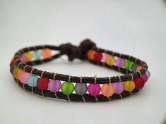 Rainbow frosted bead and cord bracelet (child size) £8.00 Rainbow Frosting, Cord Bracelets, Beautiful Gifts, Gifts For Friends, Beads, Jewelry, Beading, Jewlery, Jewerly