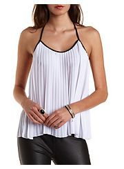 Accordion Pleat Backless Halter Top