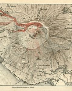1888 Antique Map of Mount Vesuvius Volcano by VintageInclination
