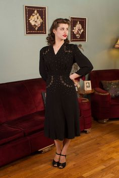 1940s Vintage Dress Glitsy Silver and Brass Studded by FabGabs